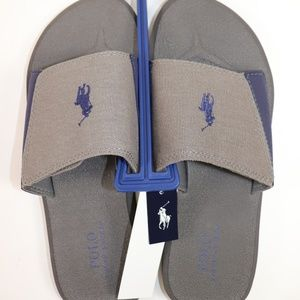 NWT POLO RALPH LAUREN Grey Navy Slip On Flip Flop